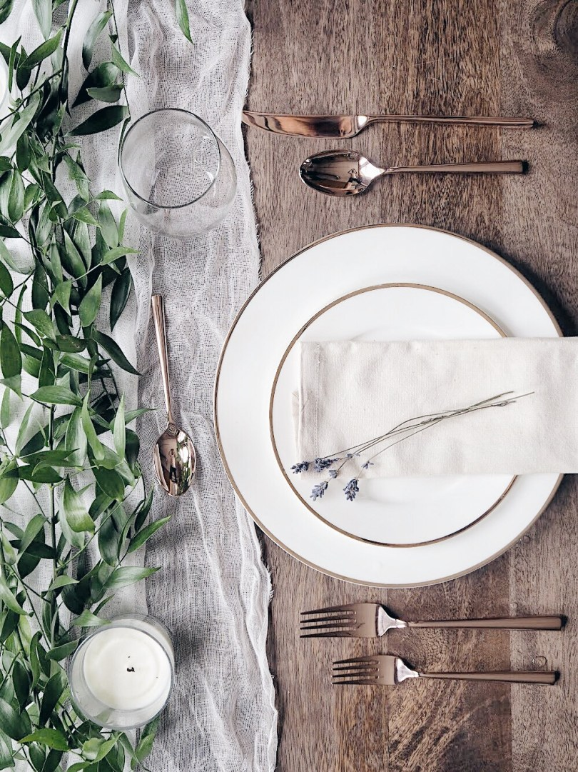 Preview of our wedding table setting with greenery and lavender