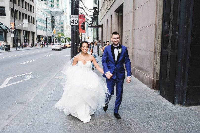 Exploring the financial district on our wedding day