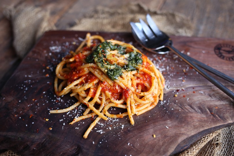 Bucatini pasta 2 ways by The Spicy Olive
