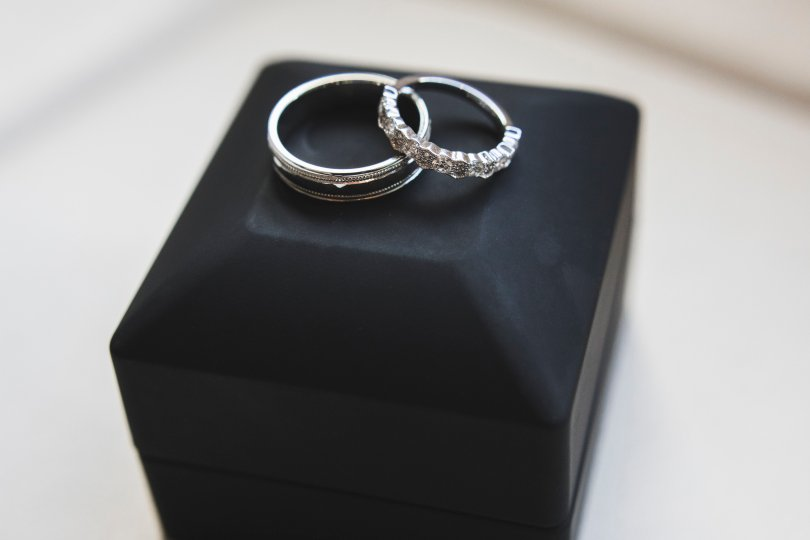 Photo of our engagement rings
