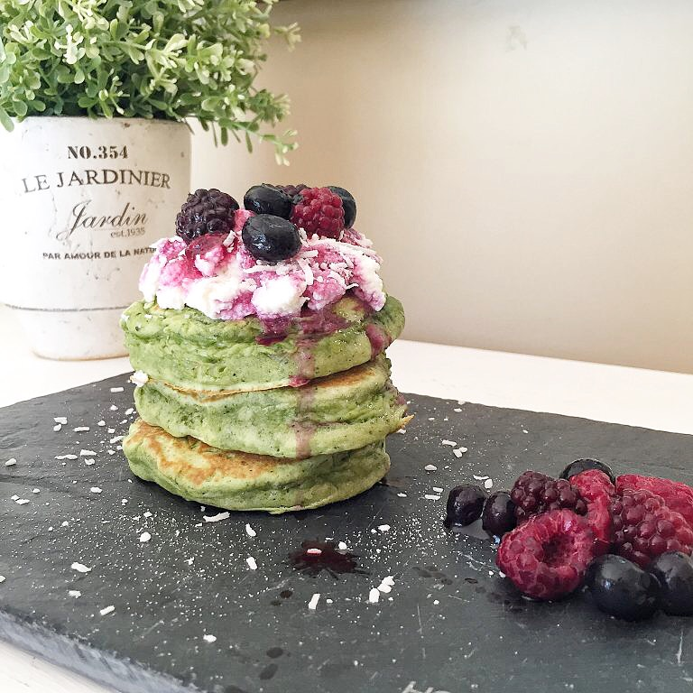 Matcha pancakes with berries and ricotta cheese from Tastes By Jade