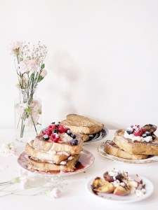 Beautiful set-up of challah french toast