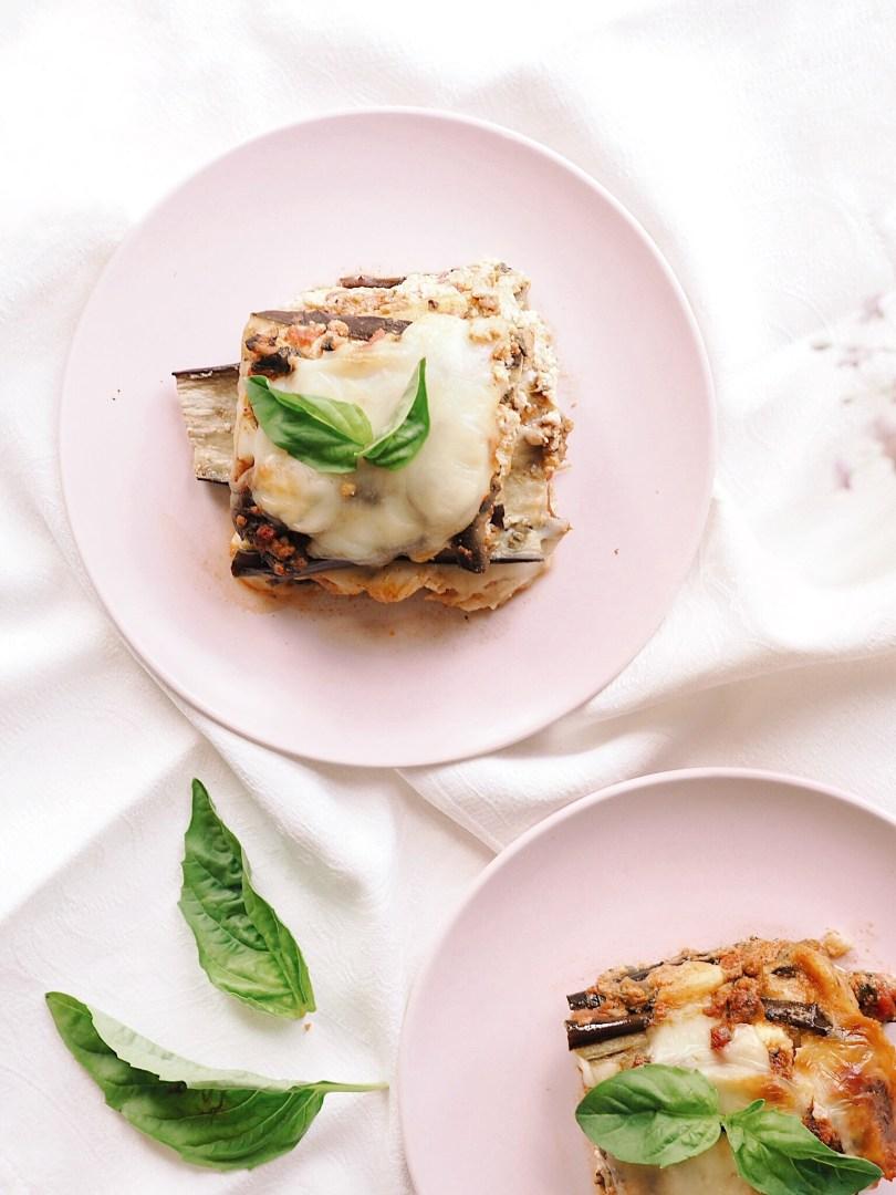 Three cheese eggplant lasagna