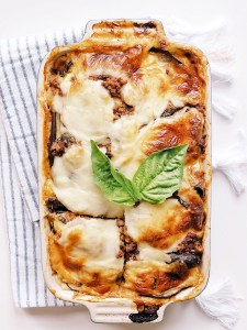 Eggplant lasagna fresh out of the oven