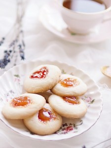 Close-up of thumbprint cookies