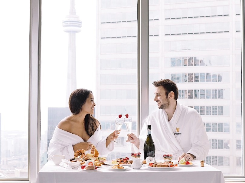Enjoying breakfast with my husband at One King West