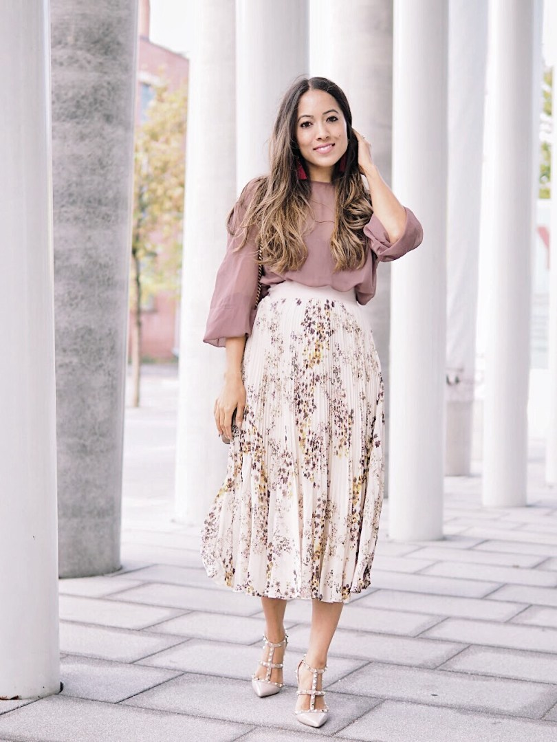 Floral pleated skirt and chiffon blouse