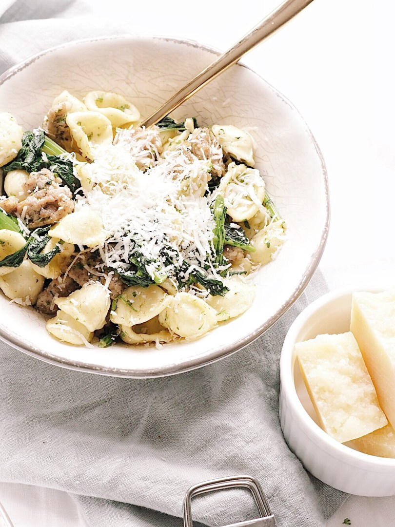 Orecchiette with sausage, rapini and grana padano