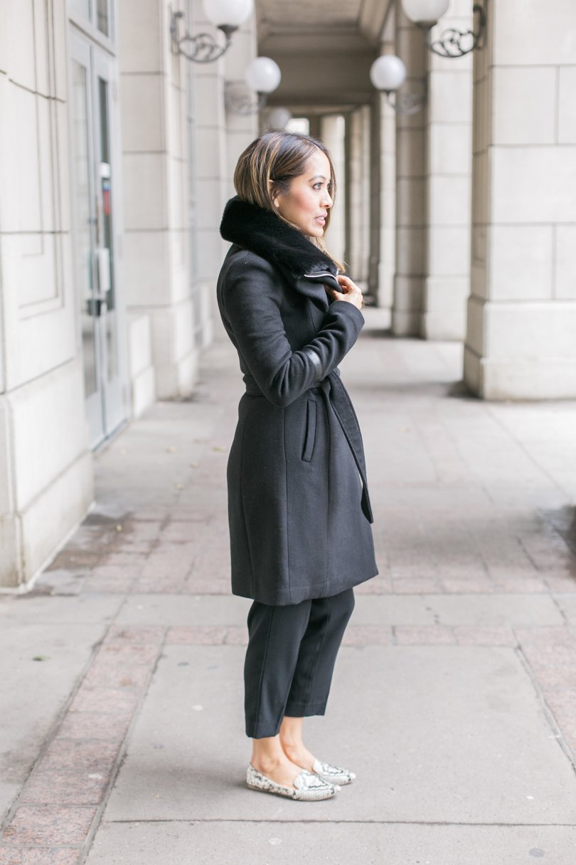 Side profile of Gabriella wrap coat