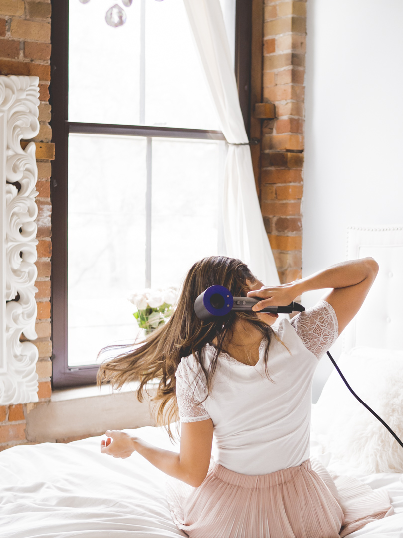 Blow drying my hair with the Dyson Supersonic hair dryer