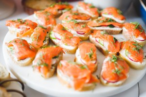 Crostini made with PC Insiders Collection smoked salmon, cucumber, radishes and goat cheese