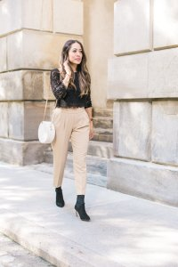 Black lace top from Aritzia, Babaton cohen pant with black sock boots