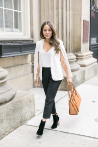 white blazer cape with babaton cohen pants and ever new boots