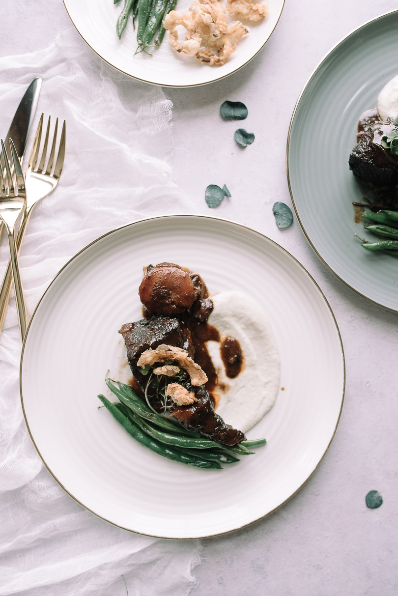 Braised beef with celery root puree and haricot verts