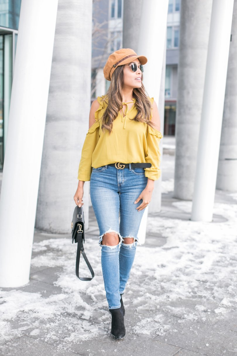 Shopbop mustard top and levi's