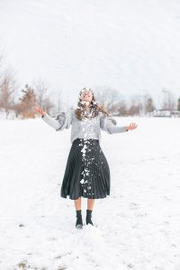 Tossing snow in the air