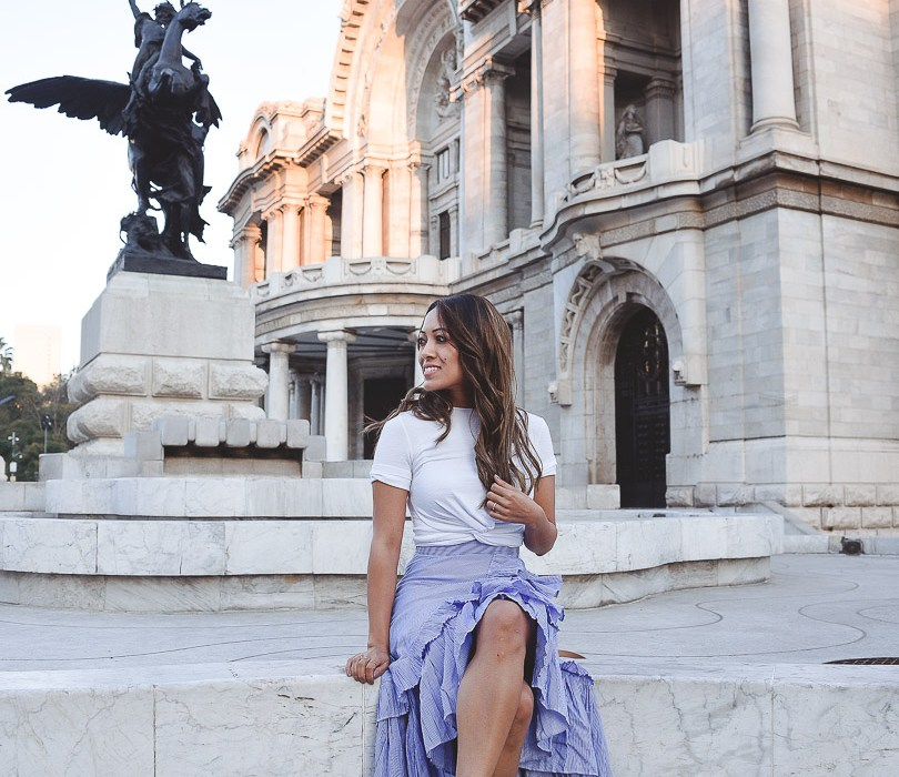 Sitting in front of Palacio de Bellas Artes