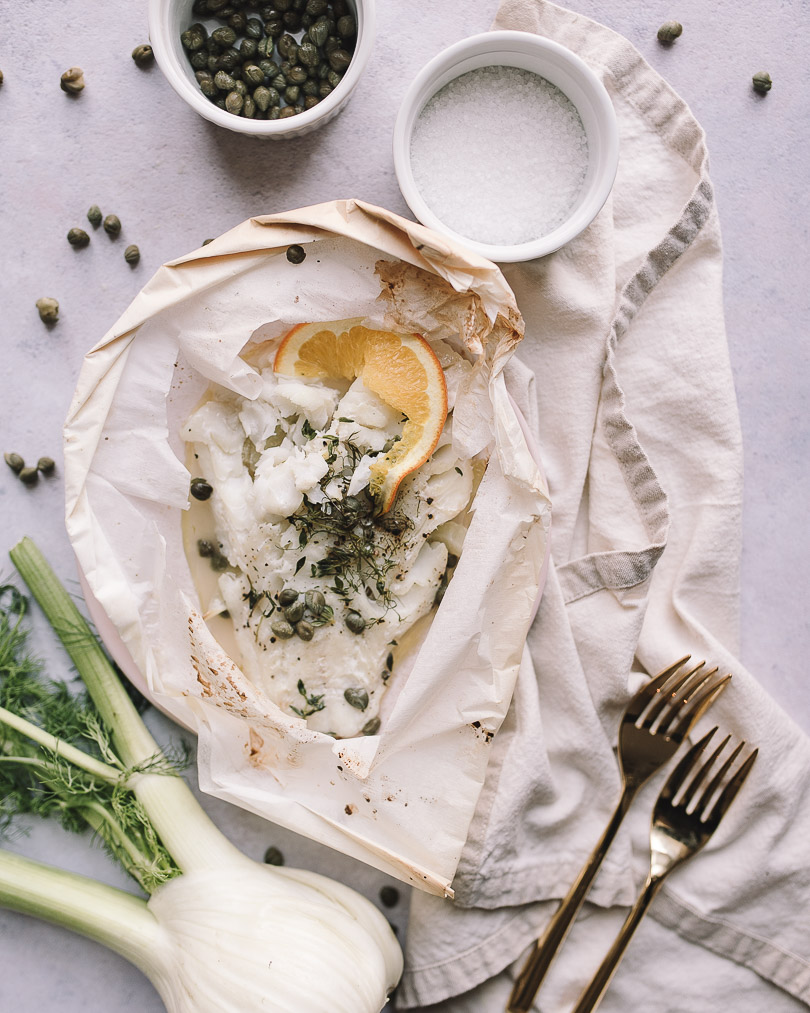 Fish en papillote with fennel and orange