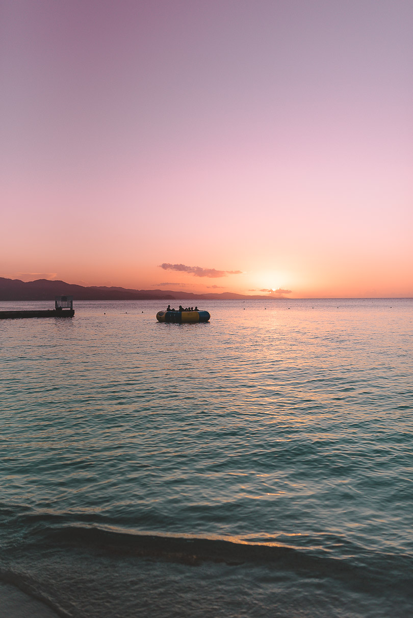 Sunset at Doctor's Cave in Jamaica