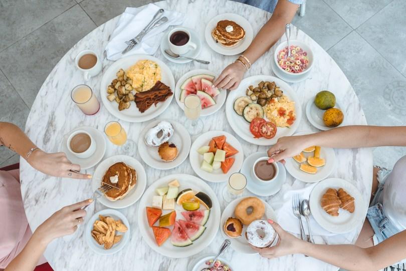 Flatlay of breakfast spread in Jamaica