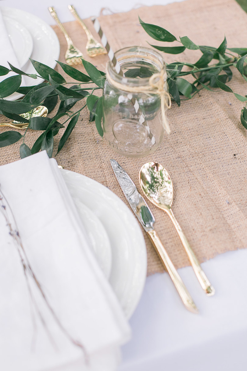Gold cutlery Bohemian picnic