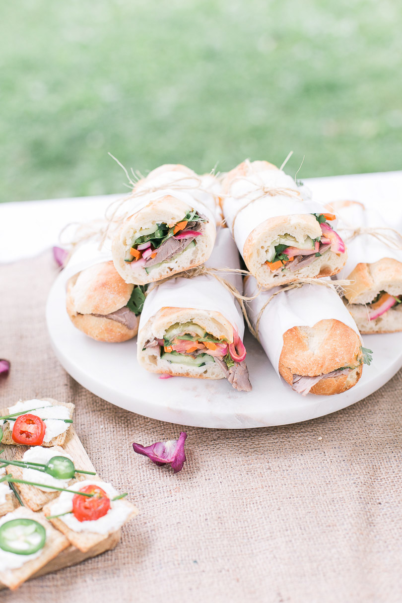 Banh mi sandwiches made with PC Asian Spiced Angus Roast Beef from PC Insiders Collection