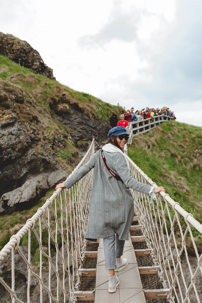 Crossing Carrick-a-Rede Rope Bridge in Northern Ireland