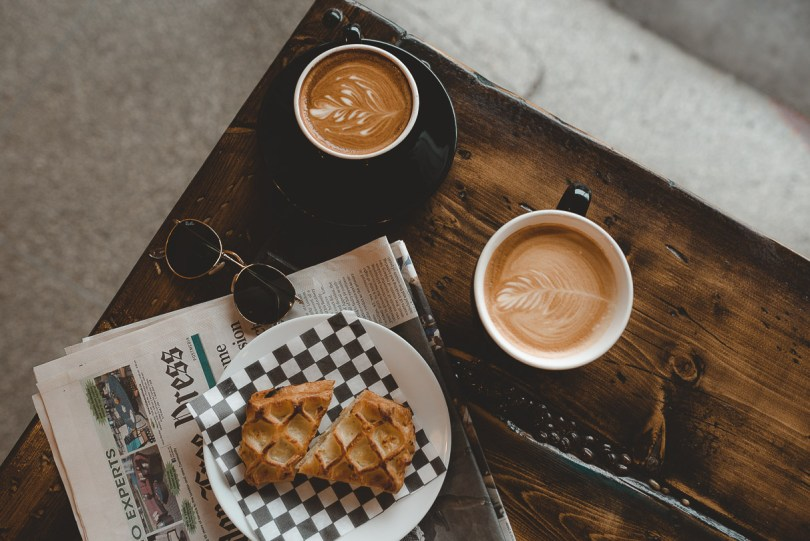 Lattes and croissant at Blackwater Coffee Company