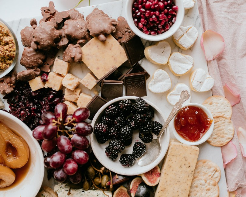 Valentine's Day Cheese and Charcuterie Board
