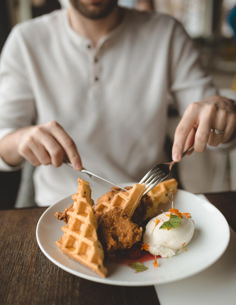 Drake Devonshire chicken + waffles