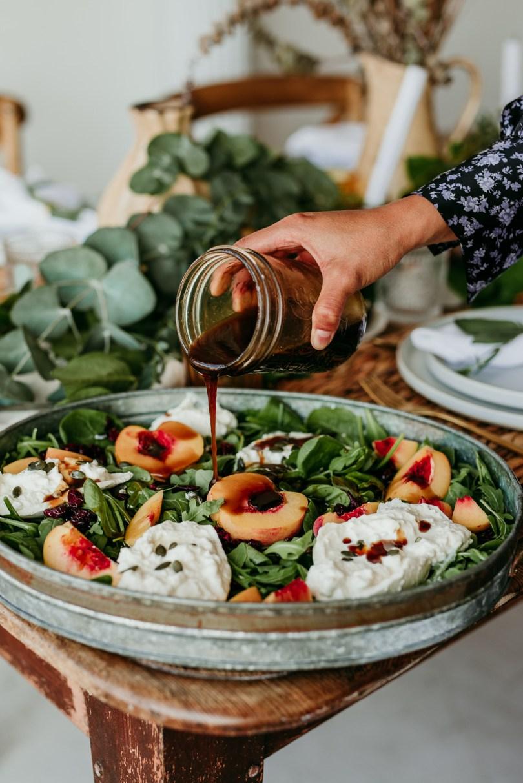 peach & burrata salad