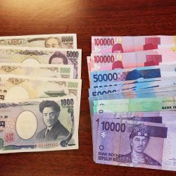 20,000 Japanese yen and 2,500,000 Indonesian rupiah