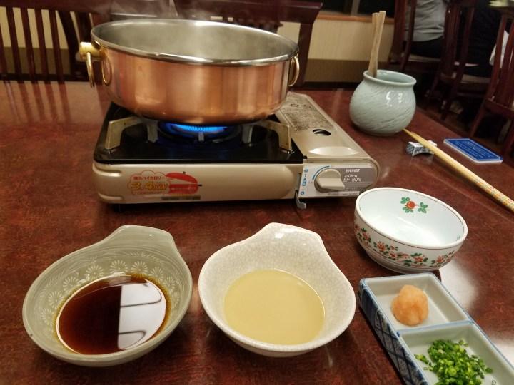 Shabu Shabu beef cooking set up at Matsukaze