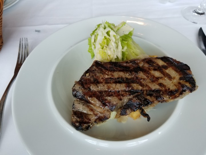 Royal Caribbean Liberty of the Seas Chops Grille lunch entree. I had the caesar salad with the NY strip.