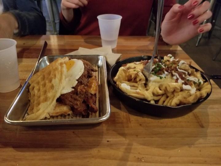 Holy Chicken sandwich and Irish Nachos at Bruxie Las Vegas
