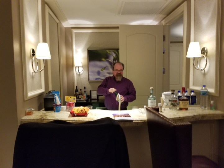 John Brawley Tophat tends bar inside our penthouse suite at the Bellagio.