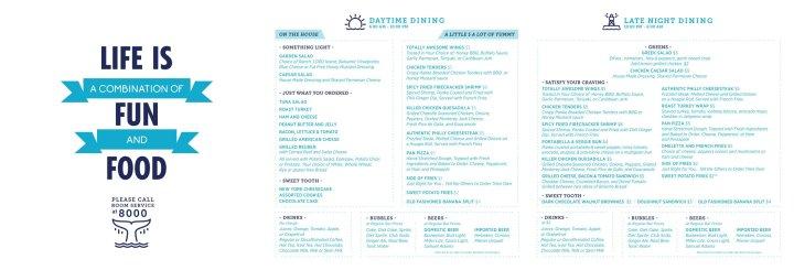 New Carnival room service menu as of January 2018