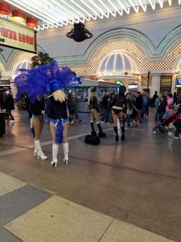 Fremont Street features performers who are delighted to take a picture with you for a small tip.
