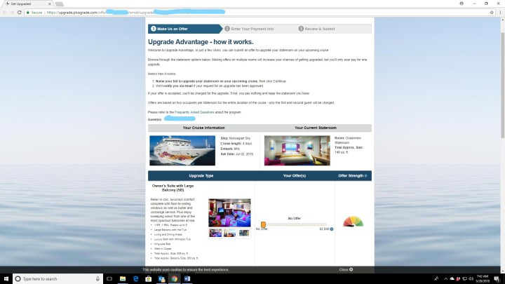 Norwegian Upgrade Advantage bid screen. This is the screen you see following the link from the email or logging in to your cruise. Sliders let you say how much you would bid on each category of room.