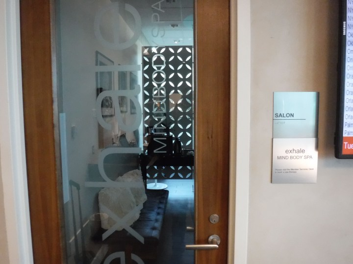 The door to the spa in the American Express Centurion Lounge in DFW Terminal D.