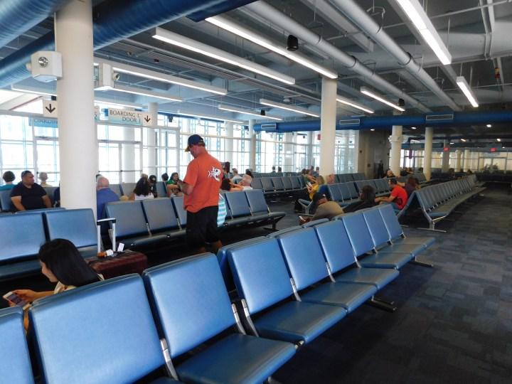 Norwegian Sky embarkation waiting area.