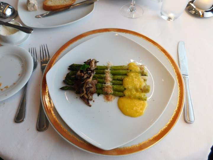 Grilled asparagus with orange hollandaise and mushrooms at Le Bistro on the Norwegian Sky.