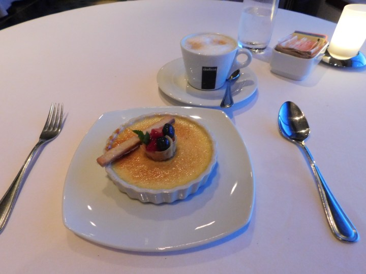 Creme brulee at Le Bistro. It tasted heavily of vanilla bean, and it was excellent.