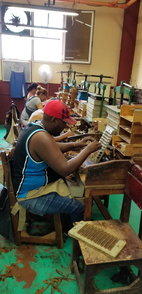 Workers rolling cigars at a factor in Havana.