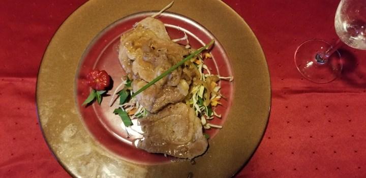 Lomo de cerdo at Conde de Villanueva. The pork chops were served on top of a bed of vegetables.