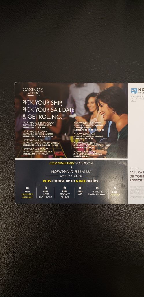 NCL free casino cruise offer.