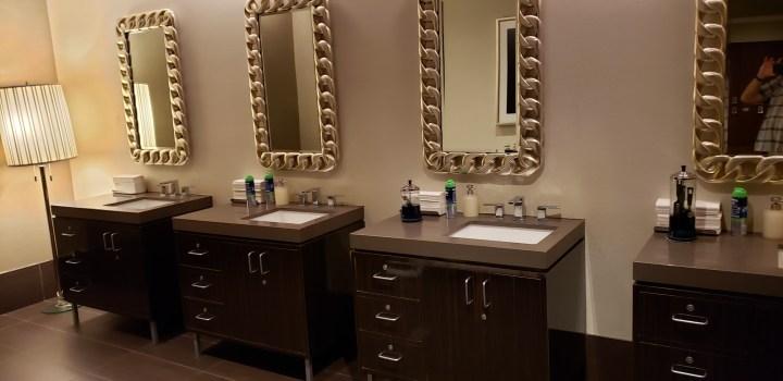 Men's vanity area at the Oleksandra Spa at the Treasure Island Hotel in Las Vegas, Nevada