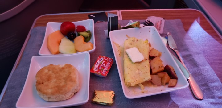 The American Airlines breakfast in first class.