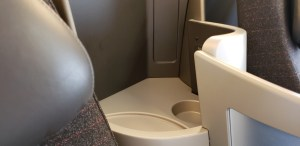 Each seat on the American Airlines International Boeing 757 has storage and power.