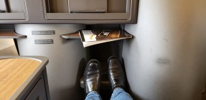 The American Airlines International Boeing 757 has excellent leg room. However, there is no seat back entertainment and no IFE was passed out on our domestic flight from DFW to PHL.